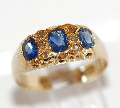 Antique Victorian 18k Gold 1ct Sapphire And Diamond 3 Stone Ring  c.1903