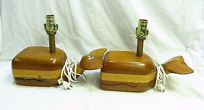 ANTIQUE 1984 Wooden Whale Lamps By F. Chambers