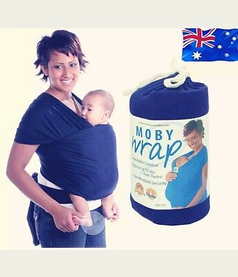 moby wrap baby carrier blue