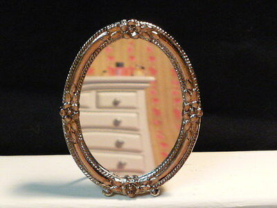 Dolls House Miniature Oval Mirror with Detachable Stand