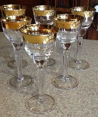 Vintage Gold Rimmed Stemware Set Of 6 Wine Glasses