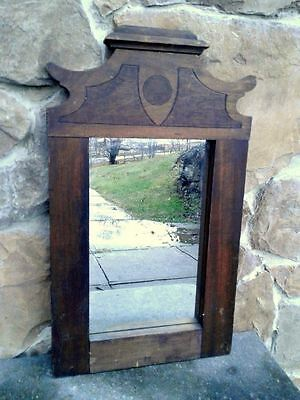 Antique Walnut Eastlake Wall and or Furniture Mirror Shield Circle Design
