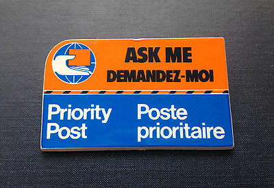 """CANADA POST """"Ask Me"""" Vintage EMPLOYEE BADGE 1980's Customer Service Pin Button"""