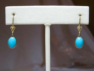 Persian Turquoise Earrings 14K Gold Classic Estate Jewelry - So in fashion!