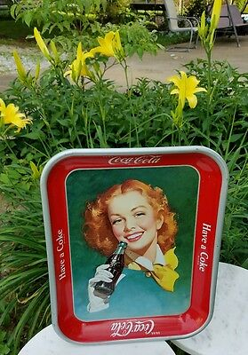 Vintage 1950's Metal Coca Cola Tray Red Head Girl Yellow Scarf Coke Bottle