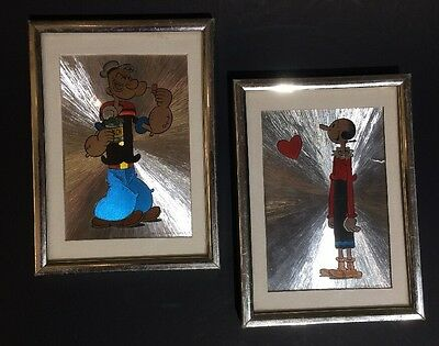 Popeye & Olive Oyl King Features Syndicate Inc Pair Framed Pictures Art Prints