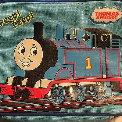 Thomas and Friends Lunch Box Case Insulated Bag Soft Zipper Train Blue Red EUC