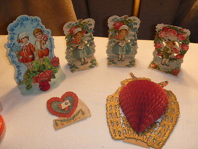 6 Early 1900's Fold Out Honeycomb Germany Valentines