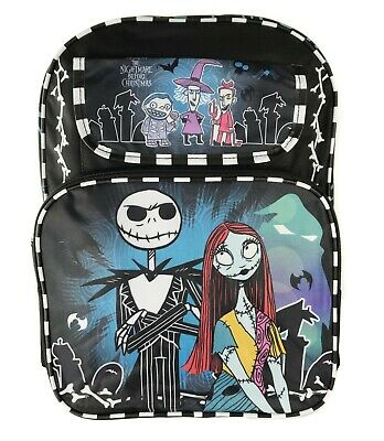 "16"" Disney Nightmare Before Christmas Jack & Sally Large All Over Print Backpack"