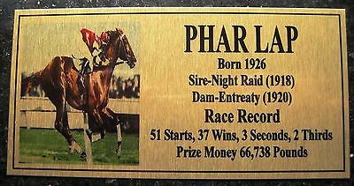 Phar Lap Gold Plaque  New Picture **Free Postage