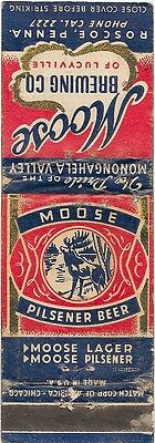 Moose Beer Matchbook Cover - Roscoe PA - 1940's