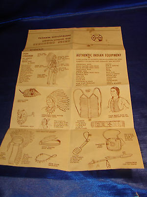 Vintage Marx Chief Cherokee Moveable Indian  Equipment Manual #2062 (some stain)