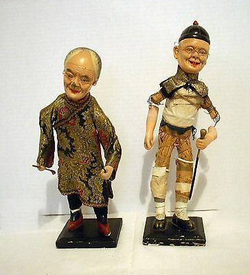 Pair Antique Chinese Door of Hope Mission School Opera Dolls  Early 1900's