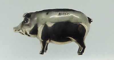 Antique Novelty English Sterling Silver PIG PIN CUSHION Birmingham 1906 S & Co