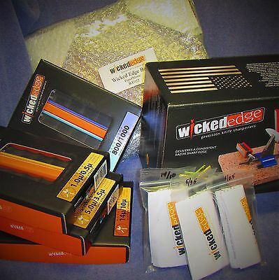 WICKED EDGE KNIFE SHARPENER w/BALL JOINT ARMS *NEW MODEL* B-VIEW  DELUXE BUNDLE*
