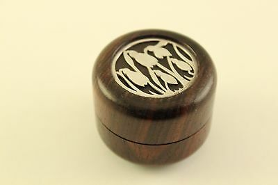 Vtg Antique English Sterling Silver Wood Hallmarked Round Tulip Pill Snuff Box