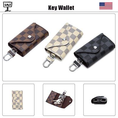 Unisex Leather Car Key Bag Chain Card Holder Wallet Case Cover Key Case Pouch