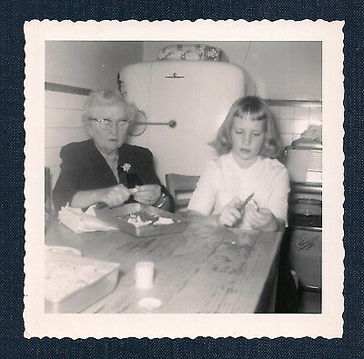 Old Woman & Young Girl Preparing Food at Kitchen Table Vintage Photo 1950's-60's