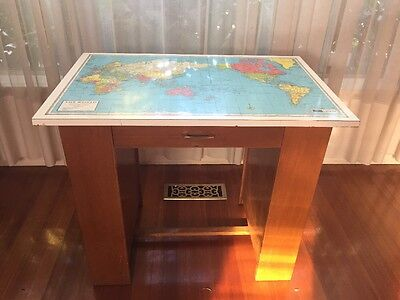 Vintage CHATLEY 1972 Wood Student Study Desk with map of world Draws & Shelves