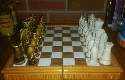 Vintage Chess set - Ceramic pieces on thick wooden board!