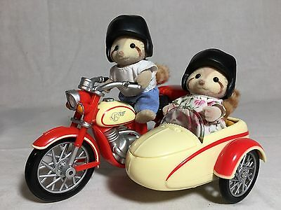 Calico critters/sylvanian families Motorcycle And Side Car With Raccoons