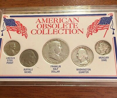 """American Obsolete Collection"" Coins Set w/Silver Half Dollar, Quarter, and Dime"