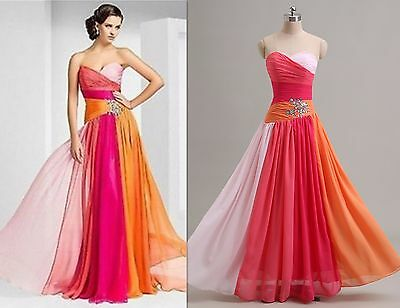 STOCK Long Chiffon Wedding Formal Bridesmaid Dress Party Prom Ball Evening Gown