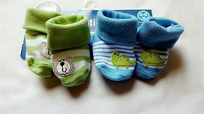 NEW Gerber Baby Set of 2 Boys Bootie Socks Size 0-6 Months