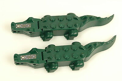 Lot of 2x Genuine LEGO Dark Green Alligator / Crocodile Animal Minifigure 6023