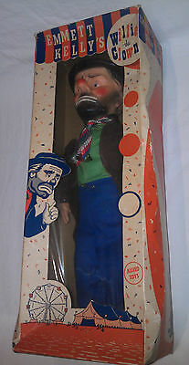 EMMETT KELLY 'Willie the Clown' vintage boxed toy doll Allied Toys see all pics