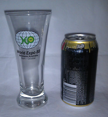 Brisbane Expo 1988 beer drinking glass 17cm high - middy or pot size