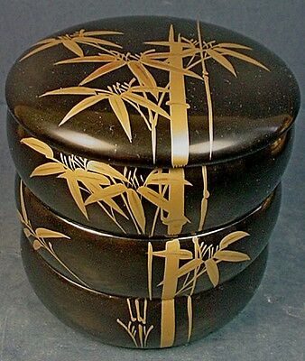 Vintage Japanese Showa Period Black & Gold Lacquer Round Three Tier Stacking Box