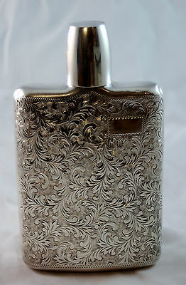 Antique Japanese Showa Period Solid Sterling Silver Flask, Scrollwork Finish