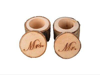 Mr & Mrs Wedding Ring Pillow Box Wooden Ring Holder Rustic Natural