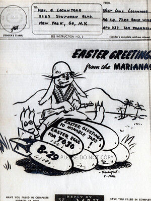 Easter Greetings Marianas B-29 Bomber Plane Bunny & Gun Bombs WWII V Mail Photo