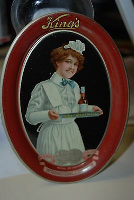 Vintage King's Pure Malt  Lithograph Tip Tray Mint   Vintage advertising