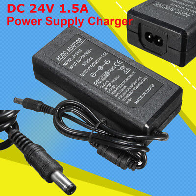 AC 100-240V Converter Adapter AC DC 24V 1.5A 1500mA 36W Power Supply Charger