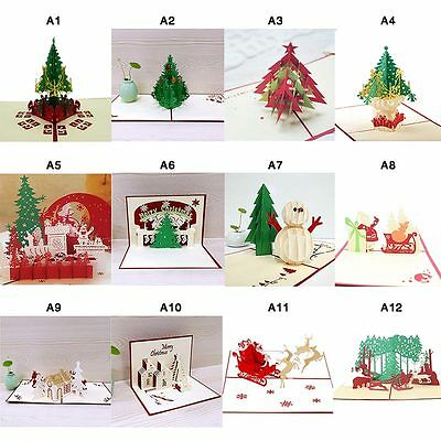 Pop Up 3D Christmas Cards Birthday Thanks Greeting Anniversary Cards Multi-style