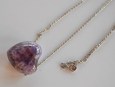 Chunky Chinese hand carved Amethyst puffy heart pendant silver tone metal chain