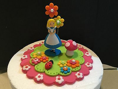 Edible Alice In Wonderland  cake cupcake Fondant icing decoration topper