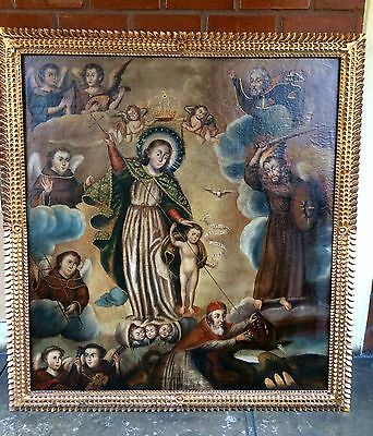 Painting Immaculate franciscan virgin, oil on canvas colonial Cuzco school 1900s