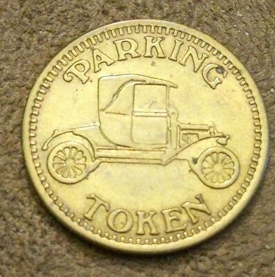 Rare & Vintage Brass Parking Token Coin Antique Ford Model-T Bald Eagle Reverse