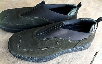 ECCO Size 39 US 8 Green Black Nubuck Leather Comfort Walking Shoes Low Wedge NEW