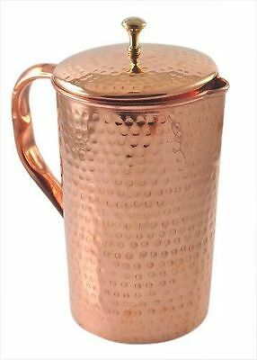 2 Set Pure Copper Jug (inside/ out) w/ Cover hammered Water Pitcher 62 oz
