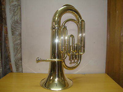 BRAND NEW BRASS FINISH Bb FLAT EUPHONIUM WITH FREE HARD CASE+MOUTHPIECE