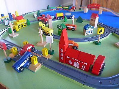 Wooden train set and play board