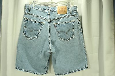 Vintage Levis Style 560 Blue Denim Shorts W 34 Loose Fit 100% Cotton Made In Usa