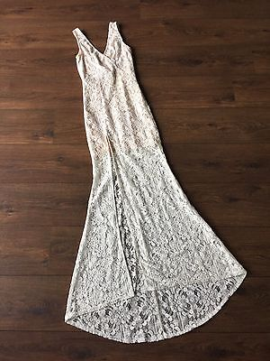Women's Lace White Long Formal Dress With Slit Size Au 6