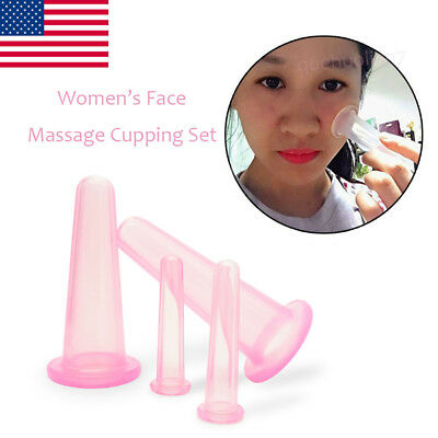 4XSilicone Vacuum Massage for Eye Neck Face Back Massager Therapy Cupping Cup US