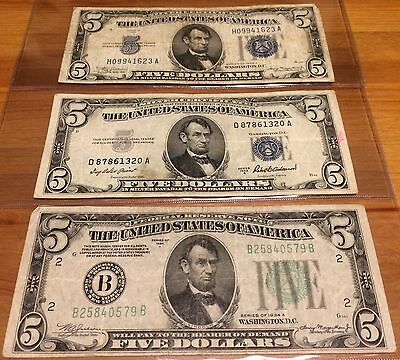 Us Currency Lot, Three $5 Bills, Two Silver Cert 1934 & 1953, One 1934 Fed Res